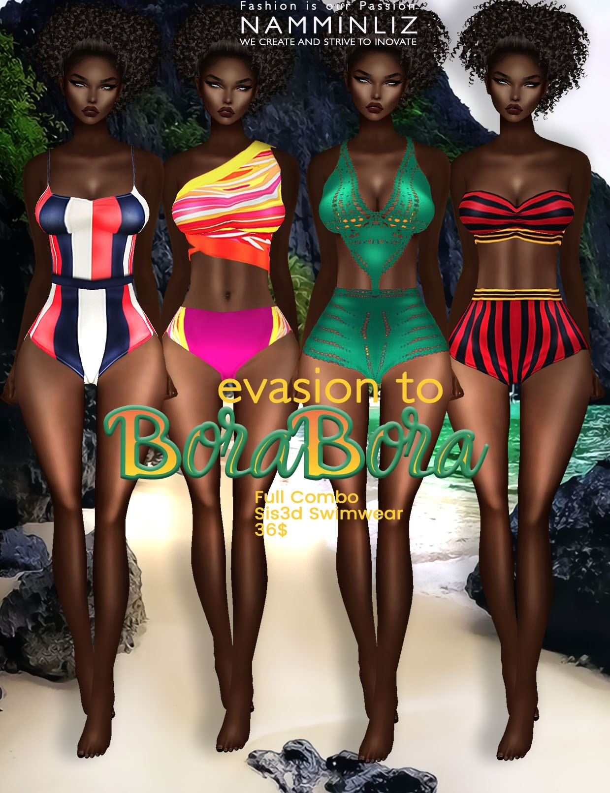 Evasion to Bora Bora full combo Sis3d swimwear imvu NAMMINLIZ