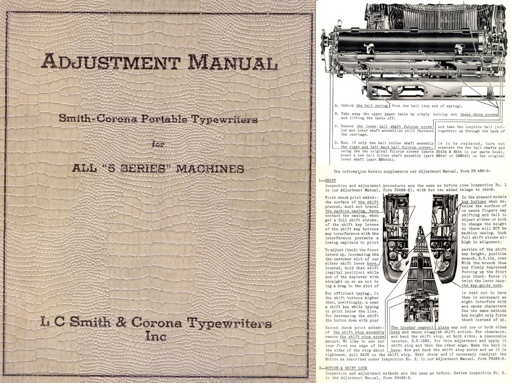 Smith Corona Super-5 Series Portable Typewriter Service Adjustment Manual