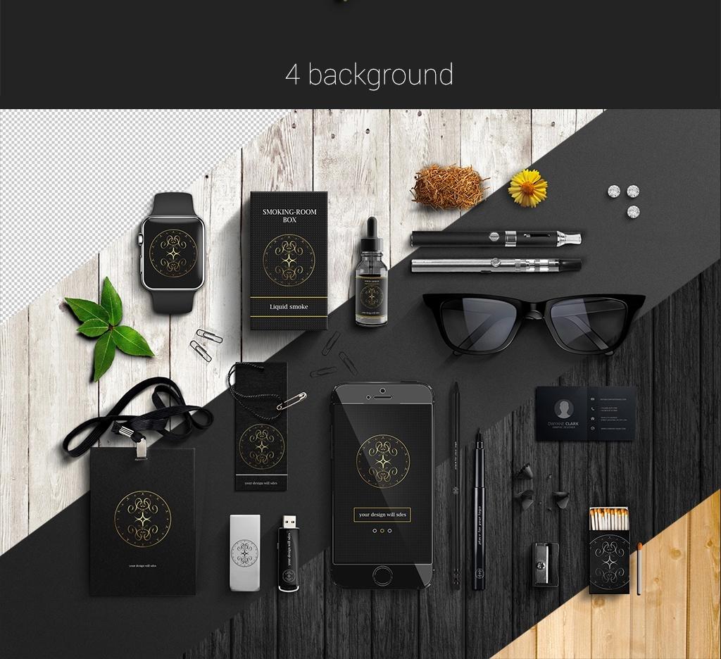 Business mockup PSD black corporate style