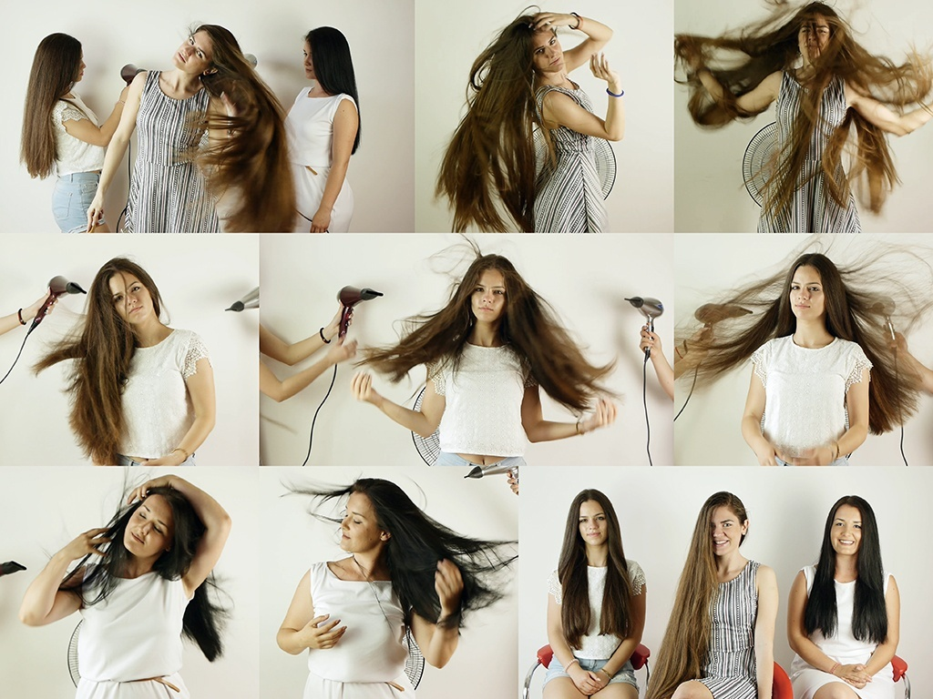 Suzana, Sladjana, and Dragana Hair in Wind