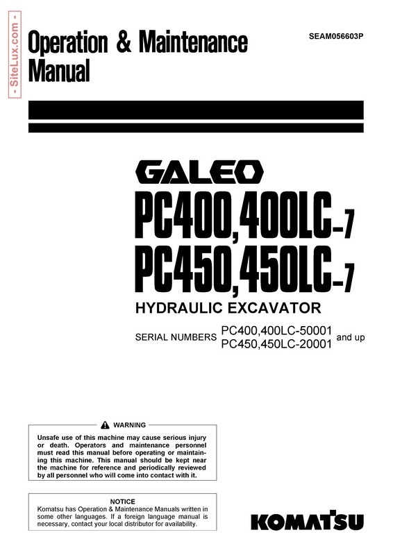 Komatsu PC400,400LC,450,450LC-7 Galeo Hydraulic Excavator OM Manual - SEAM056603P