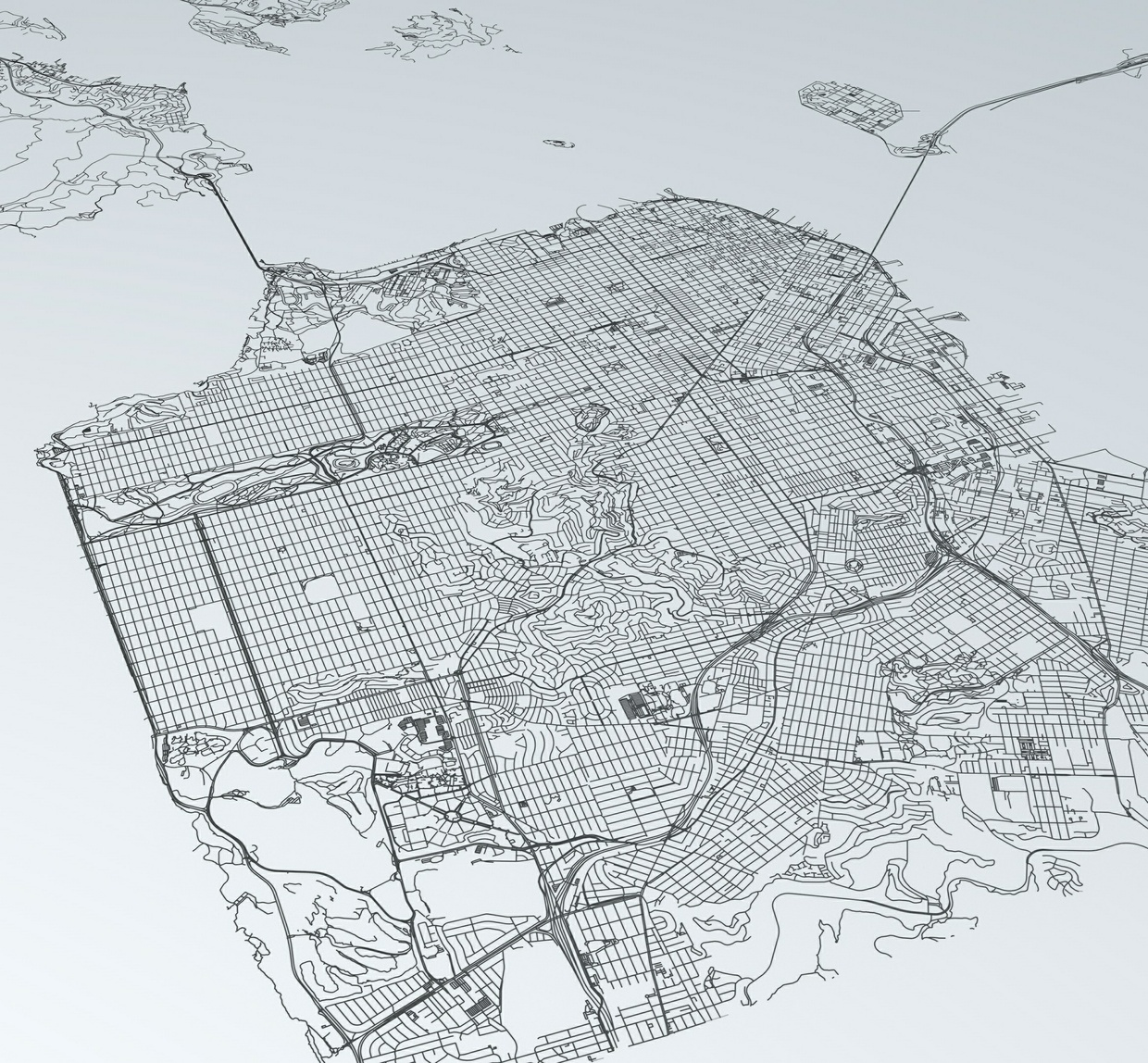 San Francisco Road Network Architectural 3D Model