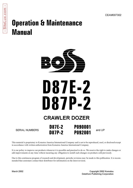 Komatsu D87E-2, D87P-2 Crawler Dozer Operation & Maintenance Manual - CEAM007302