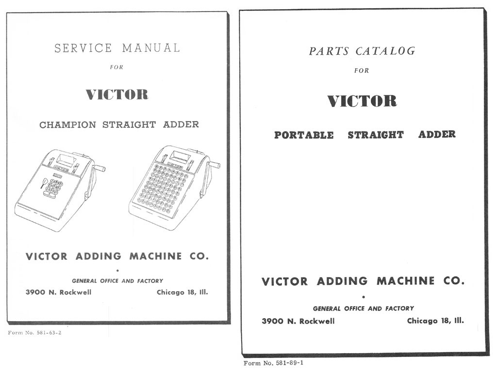 Service Manual and Parts Catalog for Victor Champion Straight Adder