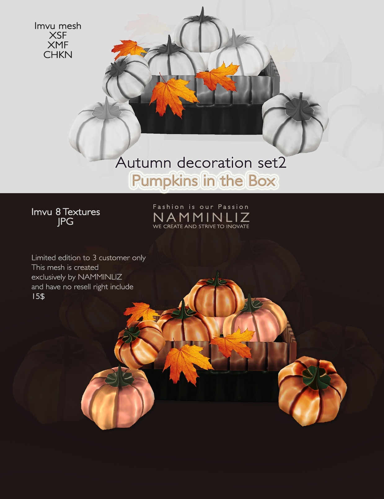 imvu 3D Mesh Autumn decor Set2 ( SXF, XMF, CHKN, JPG, Easy Guide) 0/3