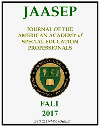 Journal of the American Academy of Special Education Professionals (JAASEP) Fall 2017