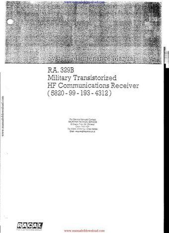 Racal RA329B Service Manual