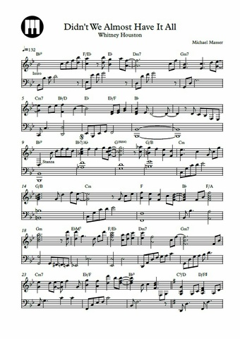 Didn't We Almost Have It All Piano Sheet Music