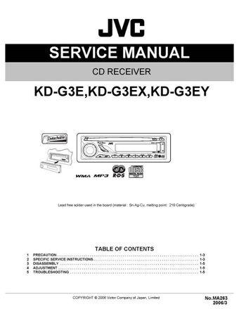 JVC KD-G3E Service Manual