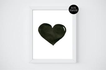 black watercolor heart watercolor painting // 8x10 // printable digital download