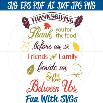 Thankful for Friends and Family, PNG, EPS, DXF and SVG Cut File, High Resolution Printable Graphics
