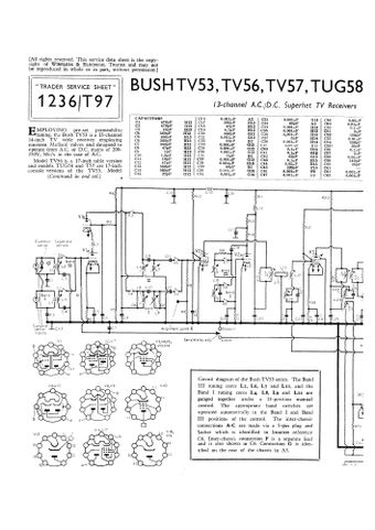 Bush TV62. TV53. TV56. T57. TUG58. TUG59. M59. TV57 Service Manual