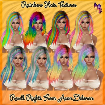 Rainbow Hair Textures Catty Only!!!