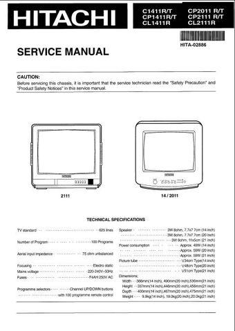 Hitachi CP2011 Service Manual