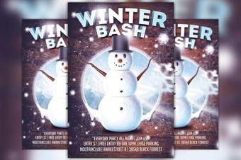 Winter Bash Snowman Flyer Template