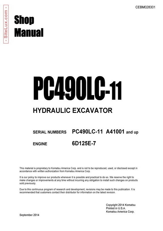 Komatsu PC490LC-11 Hydraulic Excavator (A41001 and up) Shop Manual - CEBM028301