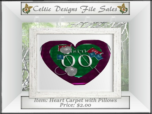 CD Heart Carpet with Pillows