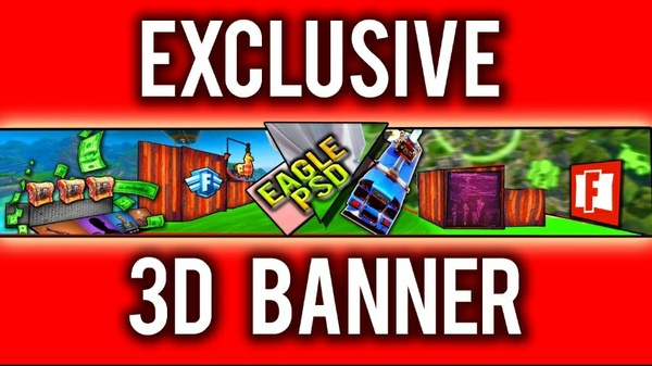 (3D) FortNite Banner Template - PSD