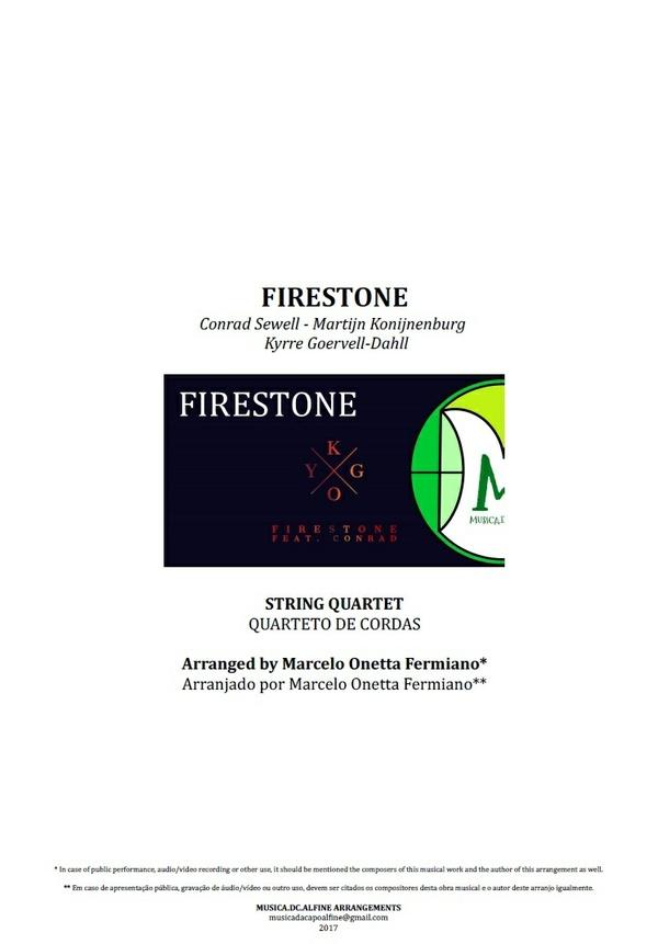 Firestone | Kygo | String Quartet | Score and Parts | Download