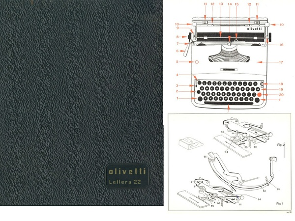Olivetti Lettera 22 Portable Typewriter Service Repair Adjustment Manual