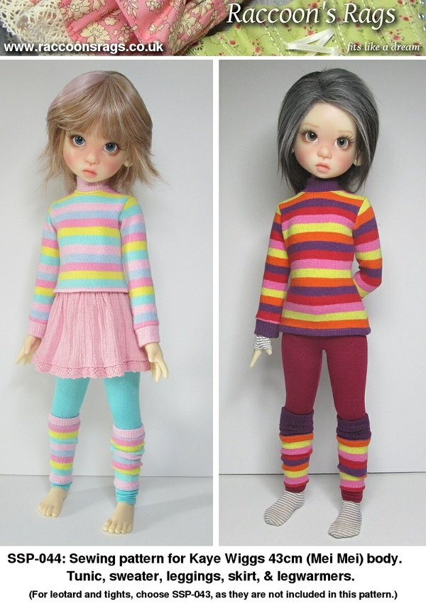 SSP-044: Sweaters, leggings and more for Kaye Wiggs dolls.  (Mei Mei body, 43cm)