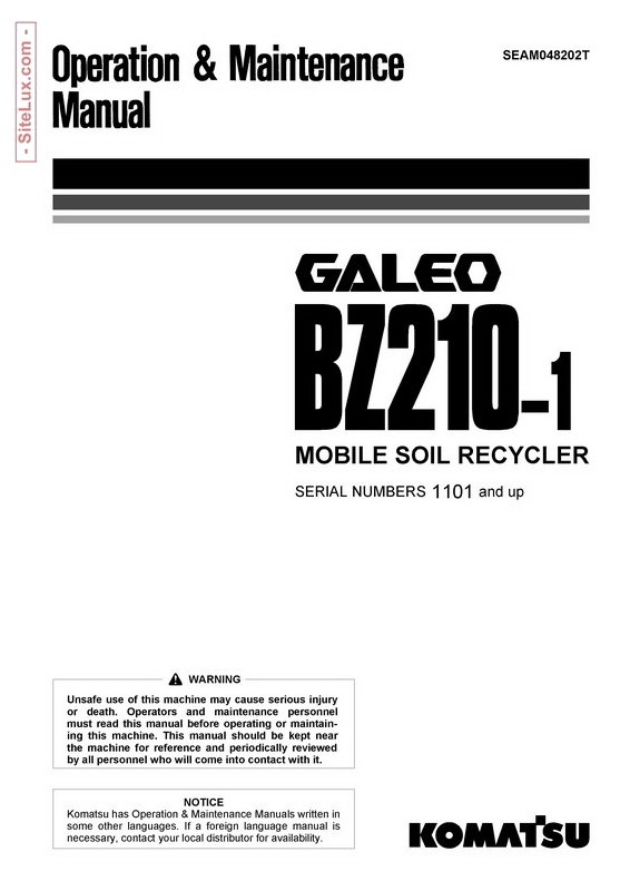 Komatsu BZ210-1 Galeo Mobile Soil Recycler Operation & Maintenance Manual - SEAM048202T