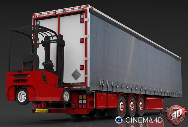 3D Curtain Forklift Trailer Model