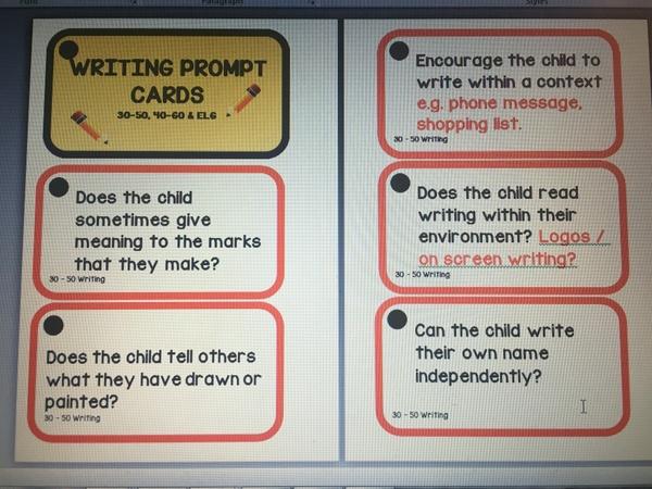 WRITING PROMPTS - 30-50 / 40-60 / ELGs