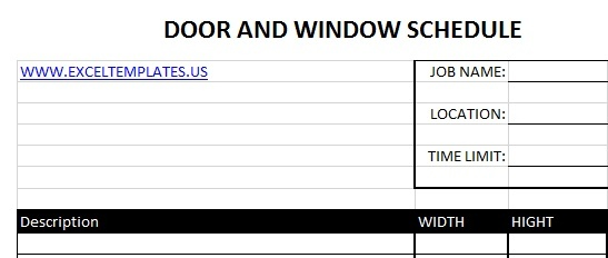 Door and Window Schedule