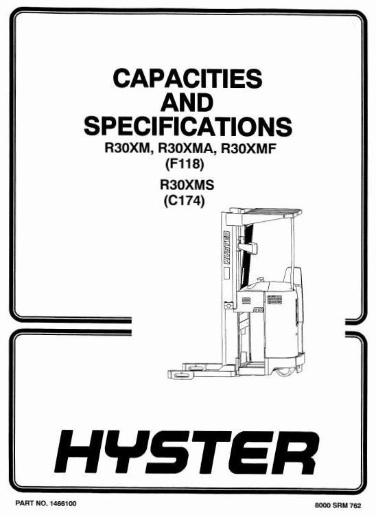 Hyster Electric Reach Truck Type F118: R30XM, R30XMA, R30XMF Workshop Manual