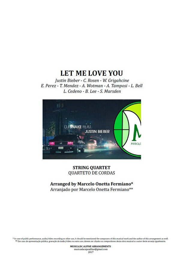 Let Me Love You | Justin Bieber | String Quartet | Score and Parts Download