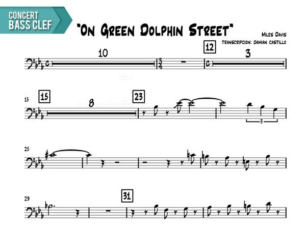"Miles Davis- ""On Green Dolphin Street"" - Concert Bass Clef"