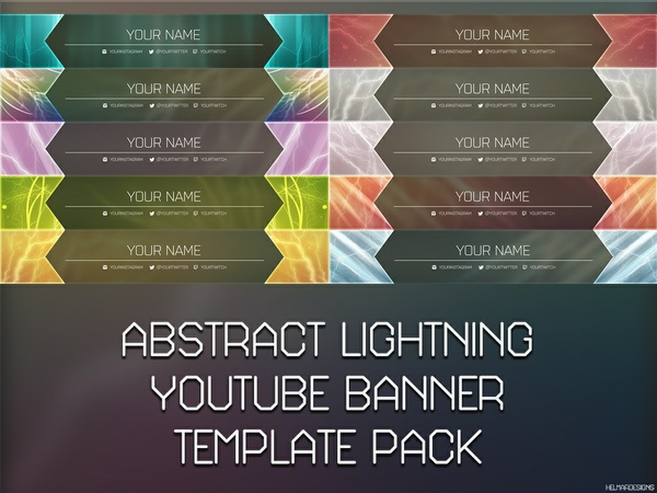 Abstract Lightning YouTube Banner Template Pack