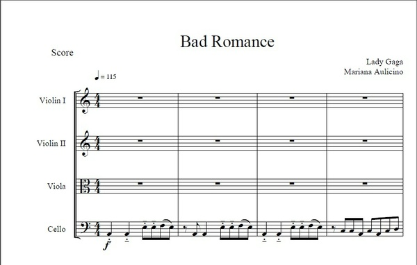 Bad Romance - Lady Gaga - String Quartet