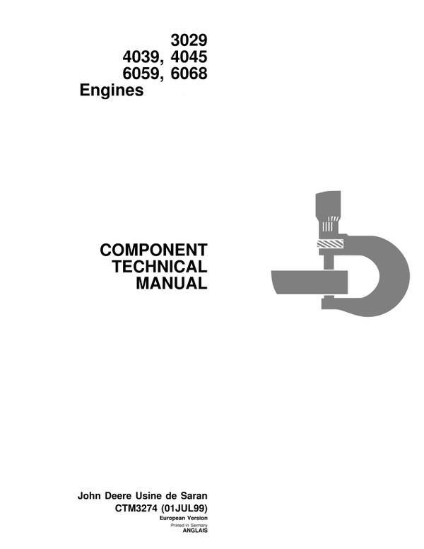John Deere 3029 4039 4045 6059 6068 engine manual - CTM3274