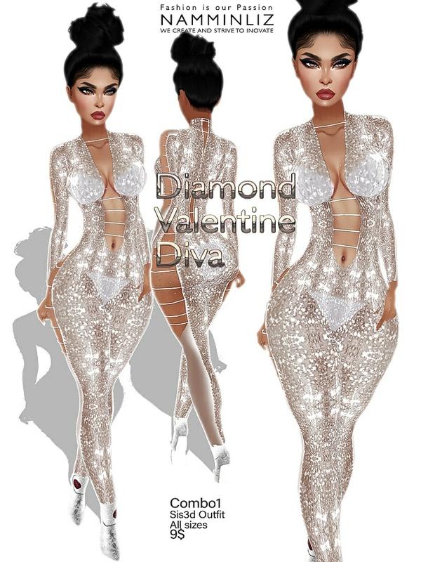Diamond Valentine Diva combo1 outfit Sis3d JPG Texture