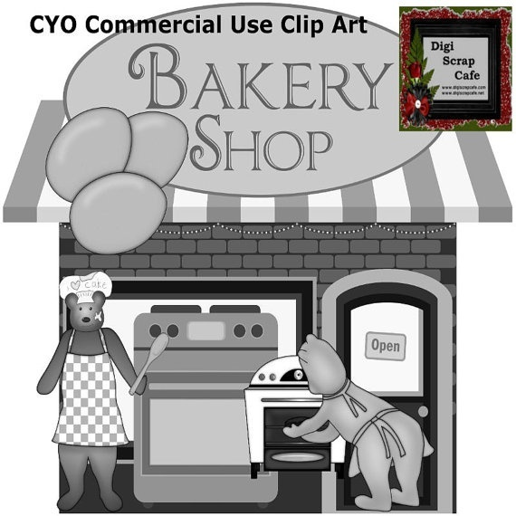 Bakery Bears Cook Kitchen scrapbook transparent clip art graphics commercial use