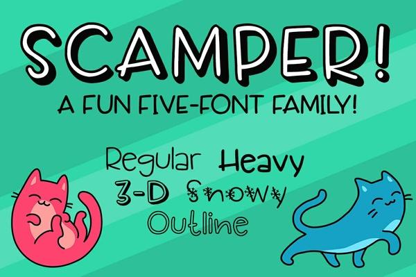 Scamper: a fun five-font family!