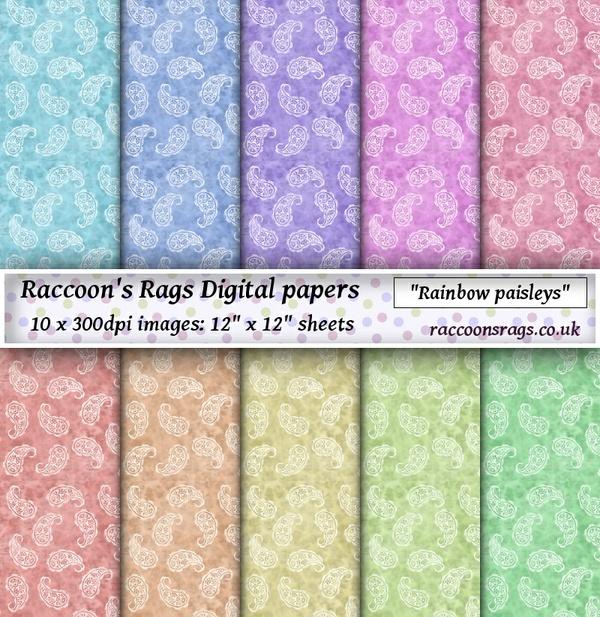 "Digital paper ""Rainbow paisleys"" Ten  12"" x 12"" images: artjournal, collage, scrapbook, cards"