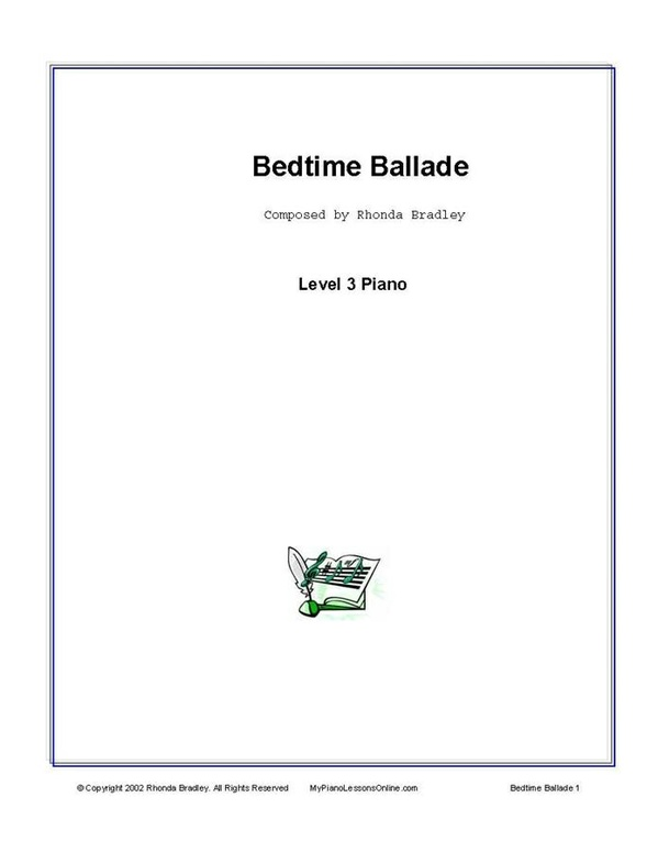 Bedtime Ballade Piano Solo Sheet Music