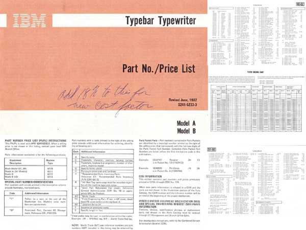 IBM S241-5233-3 Typewriter Models A & B Part Number/Price List