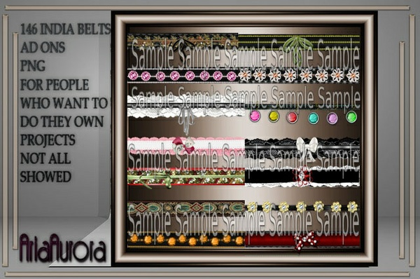 146 INDIA BELTS AD ONS NO RESELL!!