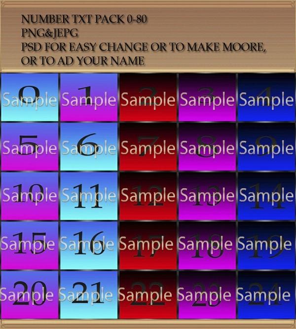 IMVU NUMBER TEXTURES +PSD 0-80