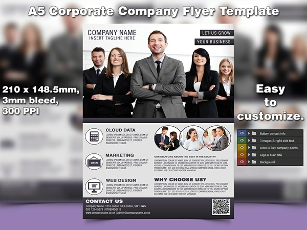 Corporate Company Flyer Template (A5, PSD)