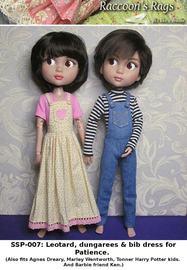 SSP-007: Straightforward Sewing Pattern; Leotard, dungarees & bib dress for Patience. FITS KEN.