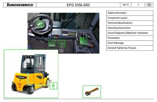 Jungheinrich EFG535K(KS), EFG540(K,S,KS), EFG545(K,S,KS), EFG550(S), EFGS40/50(S) Service Manual