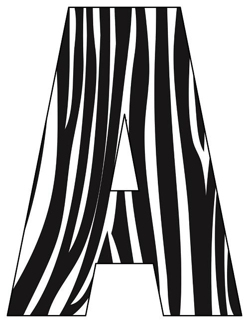8X10.5  Inch Black Zebra Printable Letters A-Z, 0-9