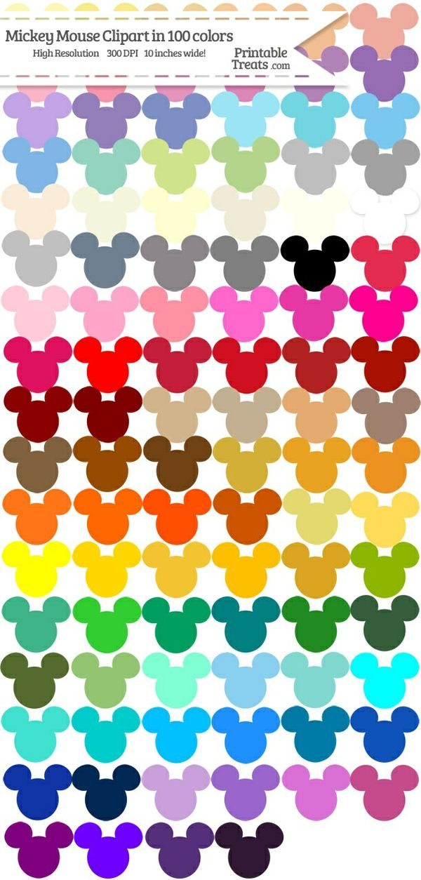 100 Colors Mickey Mouse Head Clipart Password