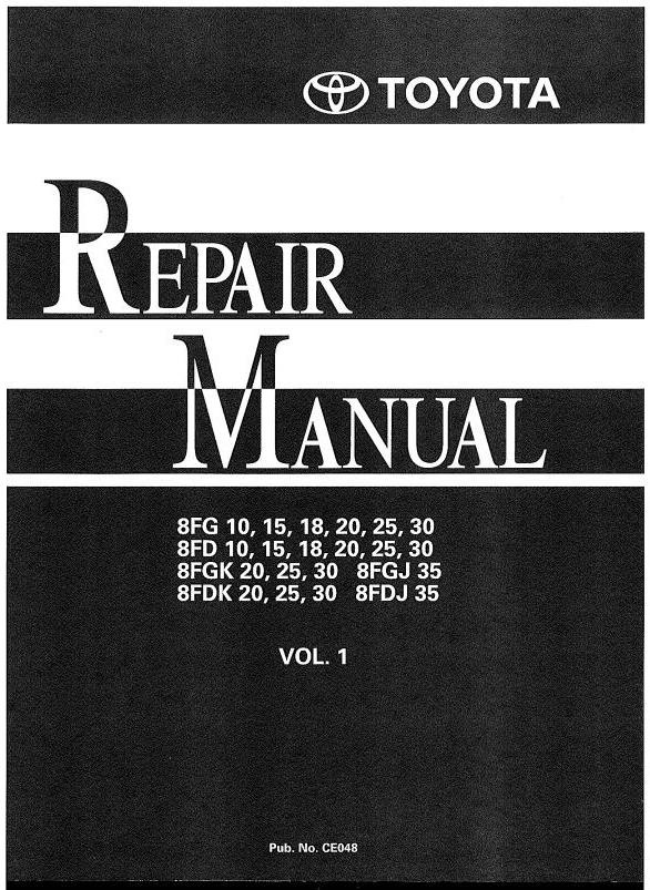 Toyota Diesel Forklift Truck 8FD10/15/18/20/25/30, 8FDJ35, 8FDK20/25/30 Workshop Service Manual