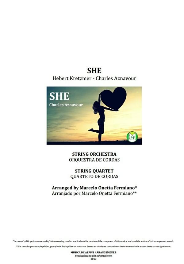 She - Charles Aznavour - Orquestra de Cordas ou Quarteto de Cordas - Partituras com Grade e Partes